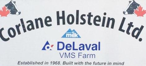 Corlane Holsteins farm sign